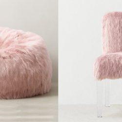 Puff e cadeira com a pele sintética Alabama Rosa, Pelican Têxtil