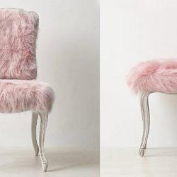 Cadeira e banco com a pele sintética Alabama Rosa, Pelican Têxtil